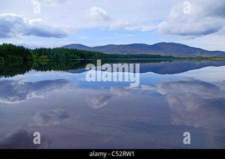Loch Garten, RSPB Abernethy Forest National Nature Reserve, view towards Cairngorms, Scottish Highlands, Scotland - Stock Photo
