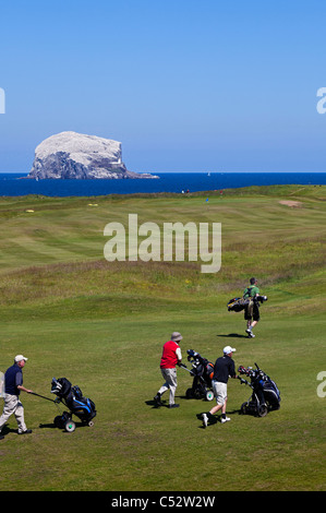 Golfing North Berwick East Lothian with Bass Rock Scotland UK - Stock Photo