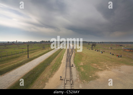 Poland Osviecim Auschwitz II-Birkenau former German Nazi Death Camp overview from entrance gateway building lookout. - Stock Photo