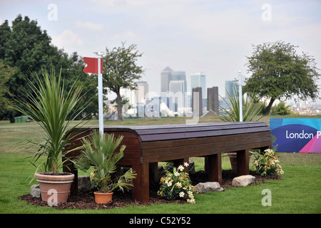 Jump 12 on tomorrows cross country course with the London skyline in the background. Dressage. Greenwich Park Eventing - Stock Photo