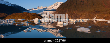 Icebergs float on the surface of Mendenhall Lake near Juneau, Tongass National Forest, Southeast Alaska, Autumn - Stock Photo
