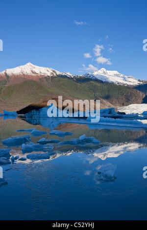 Ice forms along the shoreline of Mendenhall Lake near Juneau, Tongass National Forest, Southeast Alaska, Autumn - Stock Photo
