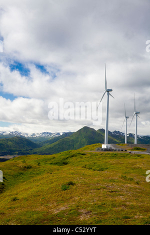 Wind turbines on Pillar Mountain for the Pillar Mountain Wind Project, Kodiak Island, Alaska - Stock Photo