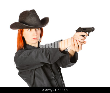 woman in black kimono aims with gun, isolated on white - Stock Photo