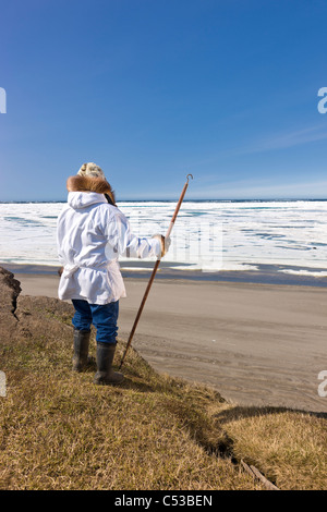 Inupiaq Eskimo holding a walking stick at Old Utkeagvik original town site overlooking the Chukchi Sea, Barrow, - Stock Photo