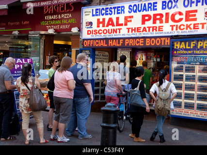 Queue for half price theatre tickets, Leicester Square, London - Stock Photo