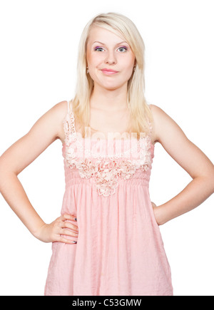 Sneering young beautiful blonde girl. Isolated on white background - Stock Photo