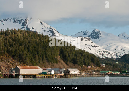 View of the outskirts of Cordova from the M/V Aurora as it pulls into the Orca Inlet, Prince William Sound, Alaska, - Stock Photo