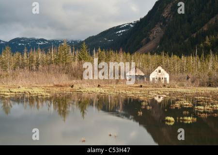 Old Eyak townsite with Chugach Mountains reflecting, Copper River Highway, Chugach National Forest, Cordova, Alaska - Stock Photo