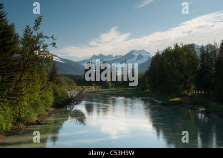 View of Mendenhall River looking up valley to the Mendenhall Glacier, near Juneau, Southeast Alaska, Summer - Stock Photo