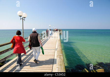 Pier in the seaside resort Wustrow, Fishland-Darss-Zingst Peninsula, Mecklenburg-Western Pomerania, Germany, Europe - Stock Photo