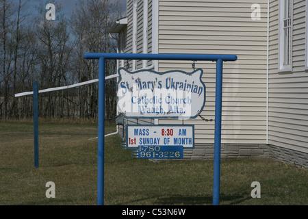 St. Mary's Ukrainian Catholic Church, Waugh, Alberta, Canada, country church, Architecture dome curve circular respect - Stock Photo
