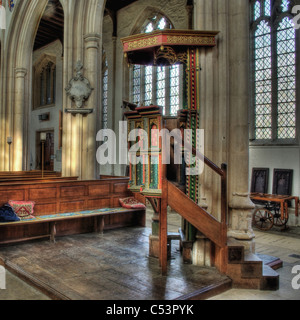 The Jacobean pulpit at the church of St Mary and All Saints, Fotheringhay, UK - Stock Photo