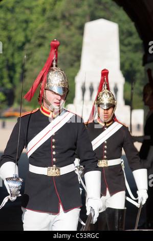 Queen Lifeguards at horseguards parade. London - Stock Photo