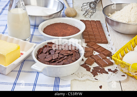 ingredients for chocolate muffins - Stock Photo