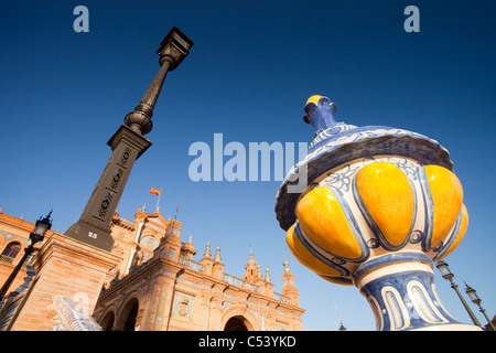 The magnificent Plaza De Espana in Maria Louisa Park in Seville. Built in 1928 for the 1929 Ibero-American Exposition, - Stock Photo