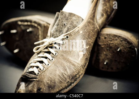 Antique leather racing at Canada's Sports Hall of Fame in Calgary, Alberta, Canada - Stock Photo