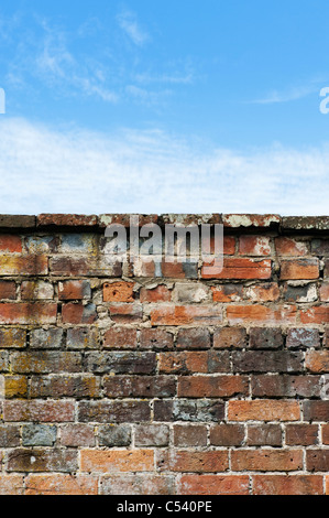 Old garden brick wall against a blue cloudy sky - Stock Photo
