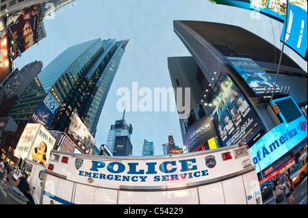 Times Square parked Police Emergency Service truck, after police re-open closed streets, New York City, USA 2011 - Stock Photo