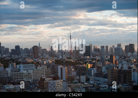 Buildings in a city with Tokyo Tower in the background, Tokyo, Japan - Stock Photo