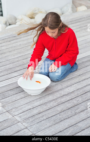 Girl touching a fish in a bowl - Stock Photo