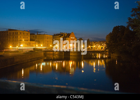 View on the Tumski Hotel and Mlynski Bridge in the evening, Wroclaw, Poland - Stock Photo