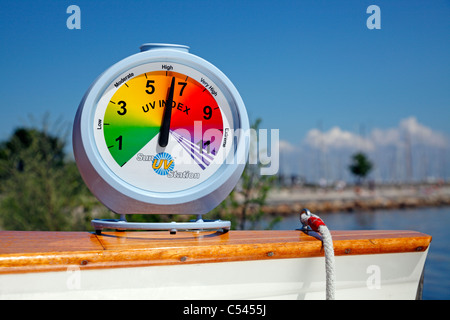 High sun UV index reading on a portable uv meter one sunny July afternoon on the beach. - Stock Photo
