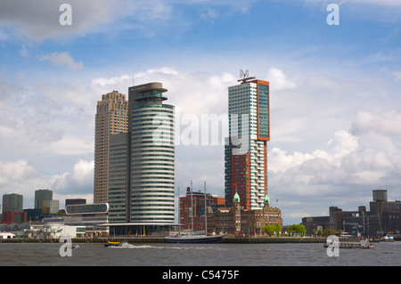 Houses along Nieuwe Maas river in Kop van Zuid district Rotterdam the province of South Holland the Netherlands Europe