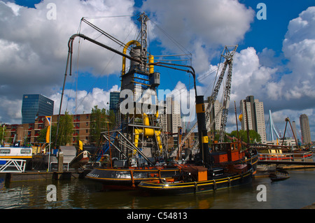 Leuvehaven harbour Rotterdam the province of South Holland the Netherlands Europe - Stock Photo