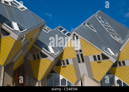 Cube Houses in Overblaak street Rotterdam the province of South Holland the Netherlands Europe - Stock Photo
