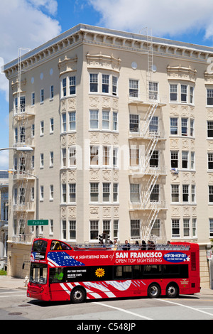 Red Open top Sightseeing Tour Bus San Francisco - Stock Photo