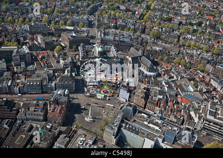 The Netherlands, Amsterdam, Aerial of city centre. In the middle Dam Square and the Royal Palace. Unesco World Heritage - Stock Photo