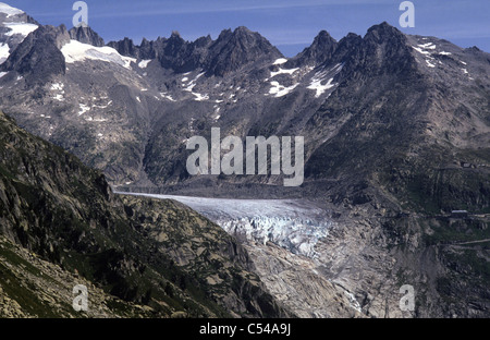 Switzerland. The Rhone Glacier, Rhonegletscher, above the Furka Pass road. - Stock Photo