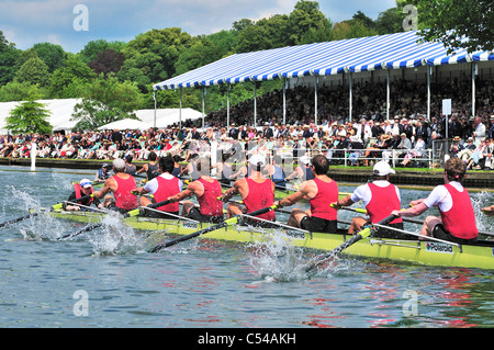 Henley Royal Regatta , semi finals day  looking over to the Stewards Enclosure - Stock Photo