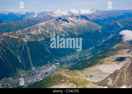 Chamonix Valley from Aiguille Du Midi, Chamonix, France, Mont Blanc Massif, Alps - Stock Photo