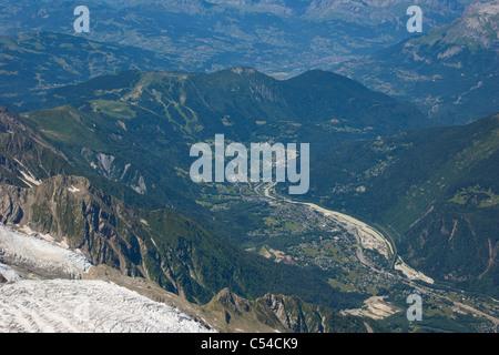 Chamonix Valley from Aiguille Du Midi, Chamonix, France, Mont Blanc Massif, Alps - Stock Photo