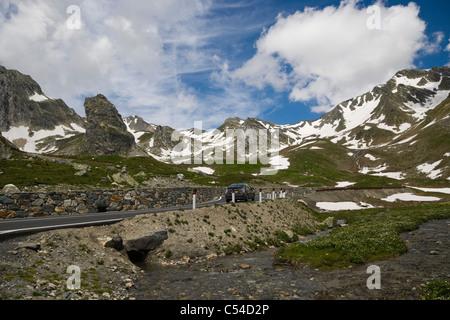 Valais Alps from Great St Bernard Pass, Col du Grand-Saint-Bernard, Colle del Gran San Bernardo, Western Alps, Italy - Stock Photo