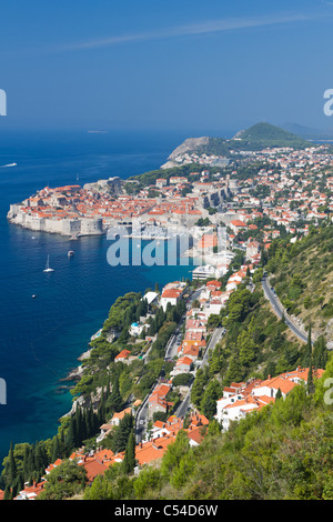 old town of Dubrovnik with surrounding area at the sea, Croatia - Stock Photo