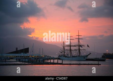 German training ship Gorch Fock in the Portas do Mar complex at sunrise. Ponta Delgada, Azores islands, Portugal. - Stock Photo