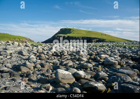 A boulder beach at Sumburgh on the Shetland Isles Scotland.  SCO 7541 - Stock Photo