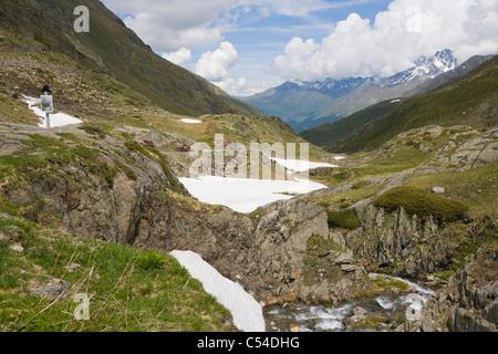 View of Pennine Alps, Valais Alps from Great St Bernard Pass - Stock Photo