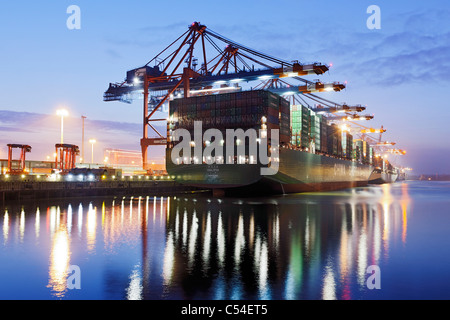Container ship CSCL STAR Hong Kong, one of the largest container ships in the world, Eurokai Container Terminal, - Stock Photo