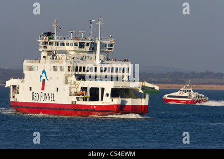 Red Falcon, Red Funnel, Ferry, Red Jet, passenger, Cowes, isle of wight, England, UK, - Stock Photo