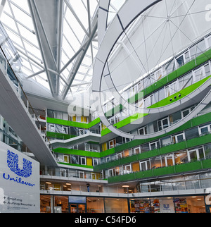 Interior, entrance area, UNILEVER German headquarters, office complex, world's best office building in 2009, Hamburg, - Stock Photo