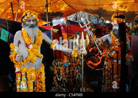 A sadhu (Hindu holy man) at the Kumbh Mela festival in India. - Stock Photo