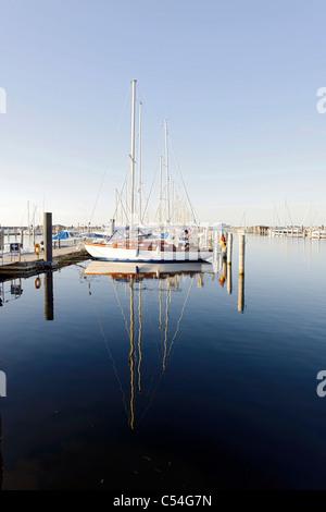 Sailing yachts, maritime, lifestyle, marina, Hohe Duene Yachting and Spa Resort, Baltic Sea, Rostock Warnemuende - Stock Photo