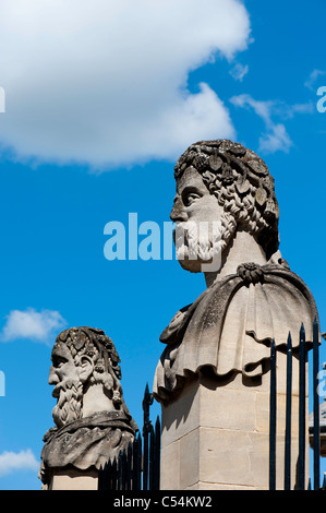 Sculptures outside Sheldonian Theatre, Oxford, Oxfordshire, United Kingdom - Stock Photo