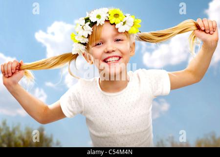 Image of happy beautiful girl wearing diadem - Stock Photo
