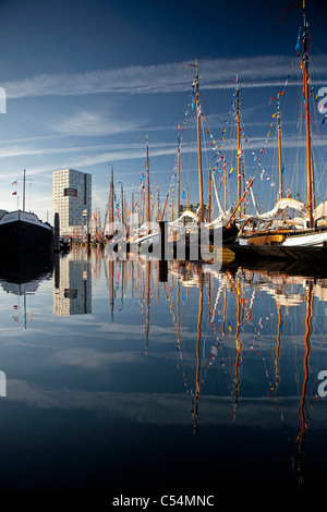 The Netherlands, Amsterdam, sailing event SAIL, celebrated every 5 years. SAIL-2010. Sailing ships moored in harbour. - Stock Photo