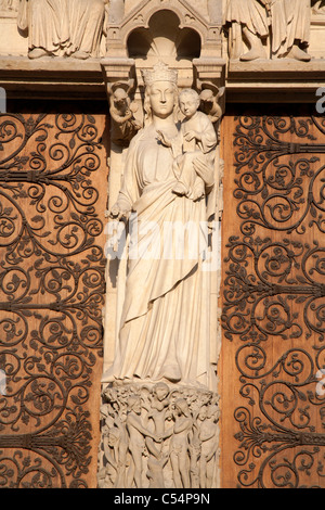 Paris - holy Mari from west facade side portal of Notre Dame cathedral - Stock Photo